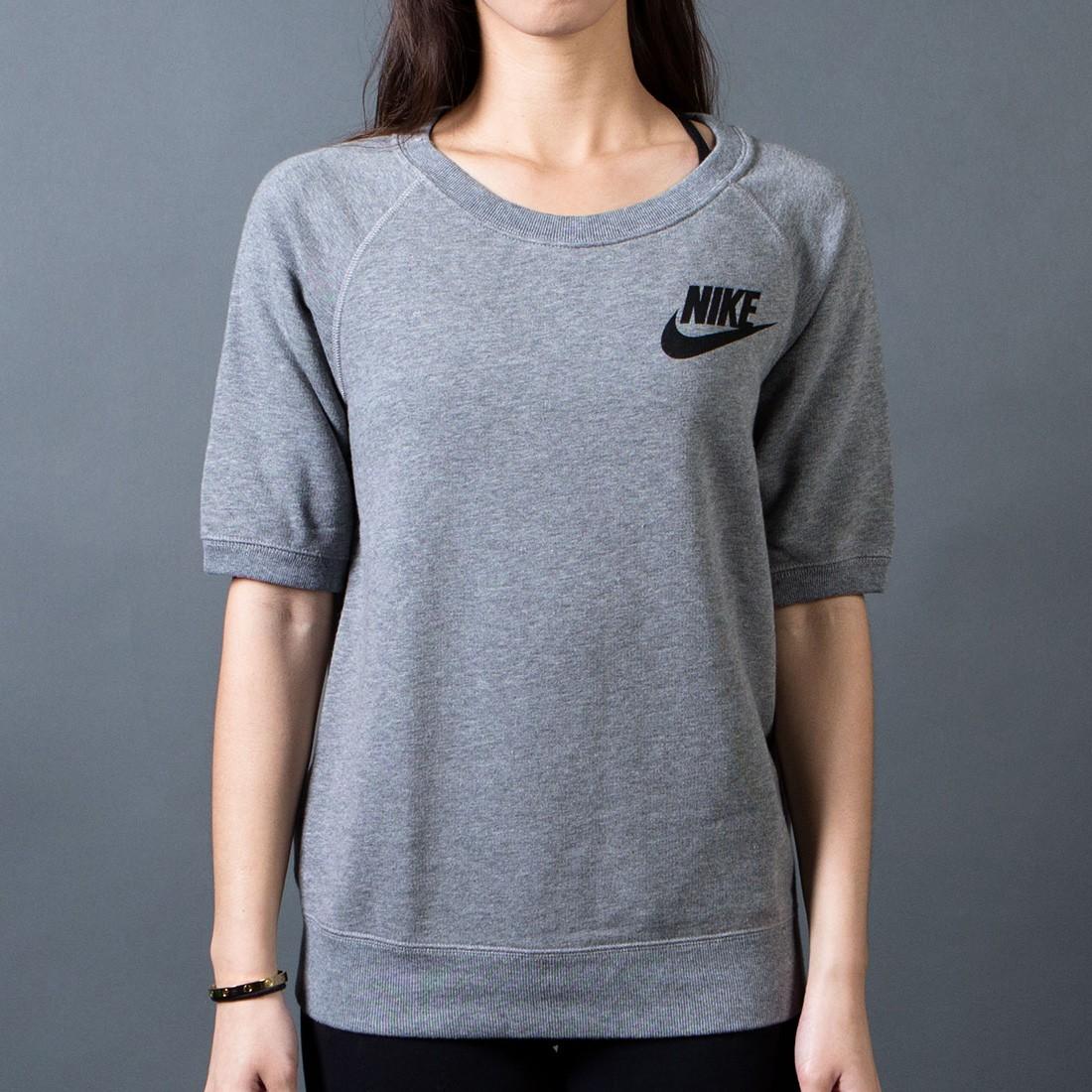 Nike Women Rally Crew Tee (grey  /  carbon heather / black)