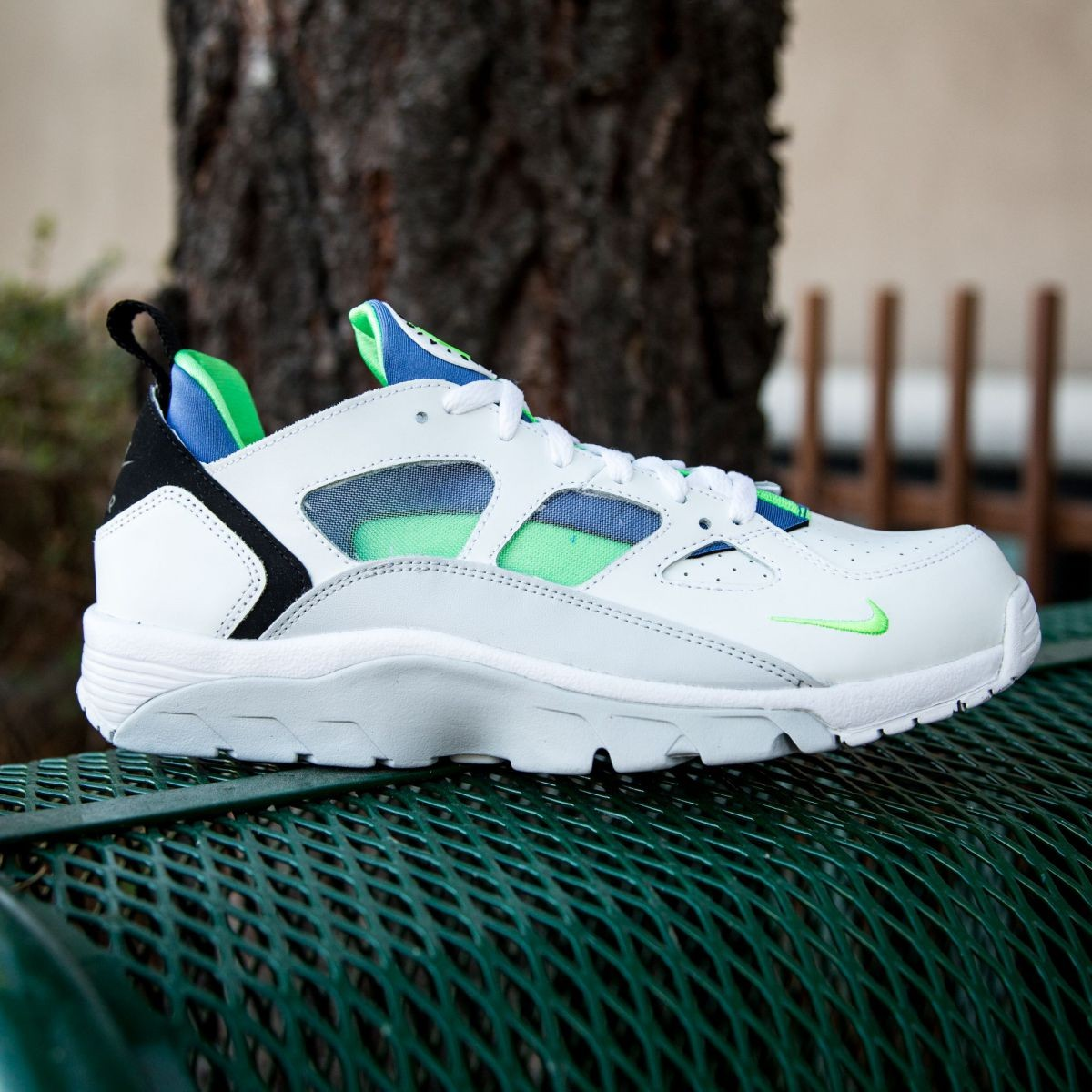 b19ab7a9acef sale nike men air trainer huarache low white scream green royal blue 448c4  1b7e8