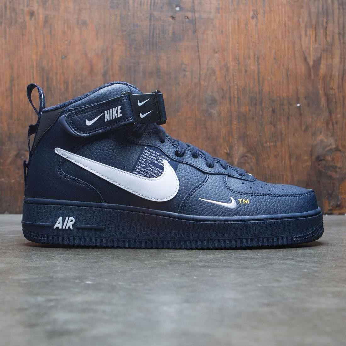 Nike Men Air Force 1 Mid '07 Lv8 (obsidian white black tour yellow)
