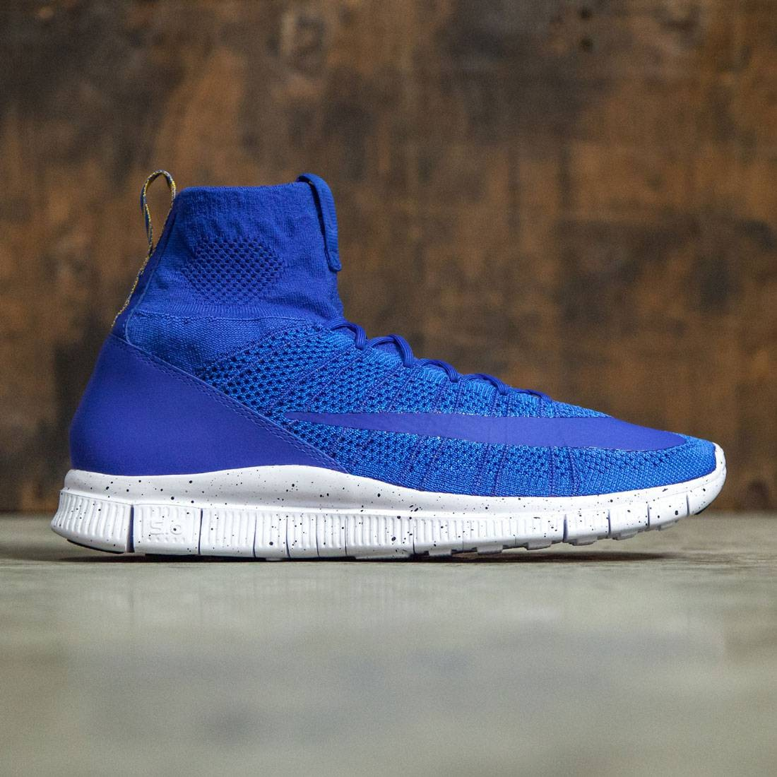 Nike Men MenS Nike Free Flyknit Mercurial Shoe (game royal  white-photo  blue-gold lead)