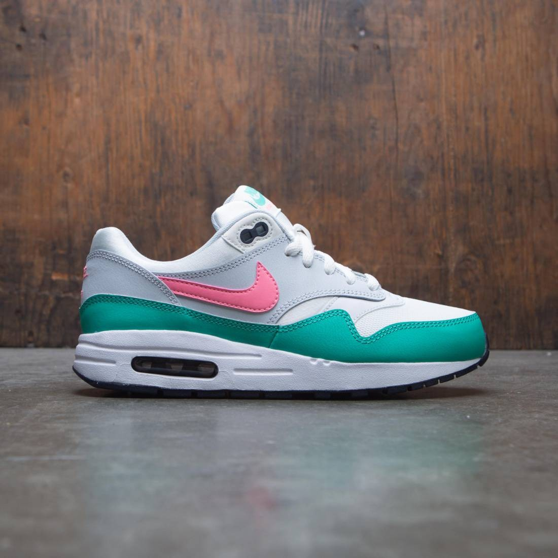 best service abc91 6b37f nike big kids nike air max 1 gs summit white sunset pulse kinetic green