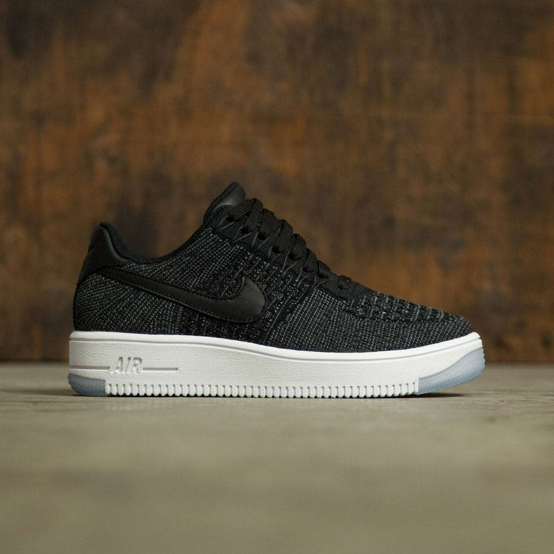 Nike Women Air Force 1 Flyknit Low (black black white)