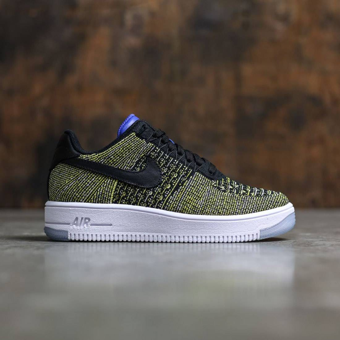 741252ce5f2 Nike Women Air Force 1 Flyknit Low (black / black-blue tint-game royal)