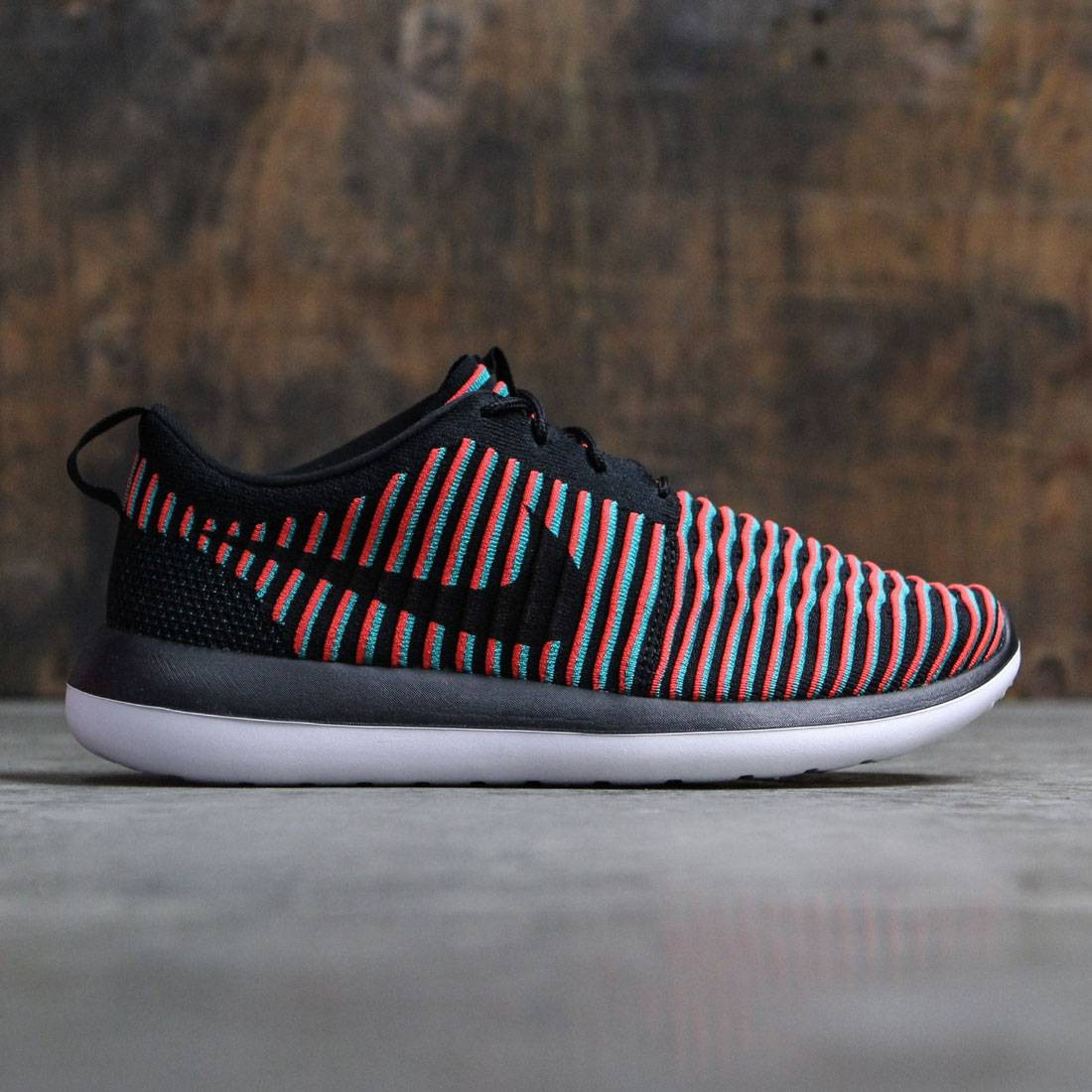 7c10052f2968 Nike Men Roshe Two Flyknit (black   black-bright crimson-clear jade)