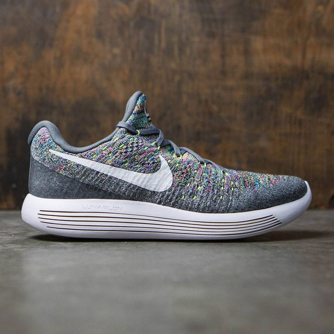 quality design ffbc6 d910f nike men lunarepic low flyknit 2 running cool grey white volt blue glow