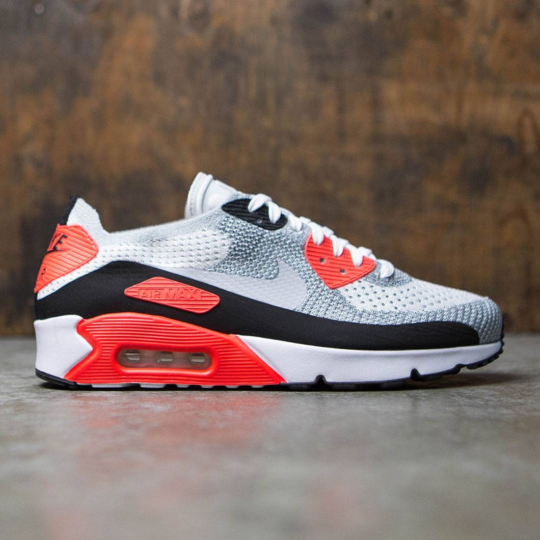 Nike Men Air Max 90 Ultra 2.0 Flyknit (white wolf grey bright crimson black)