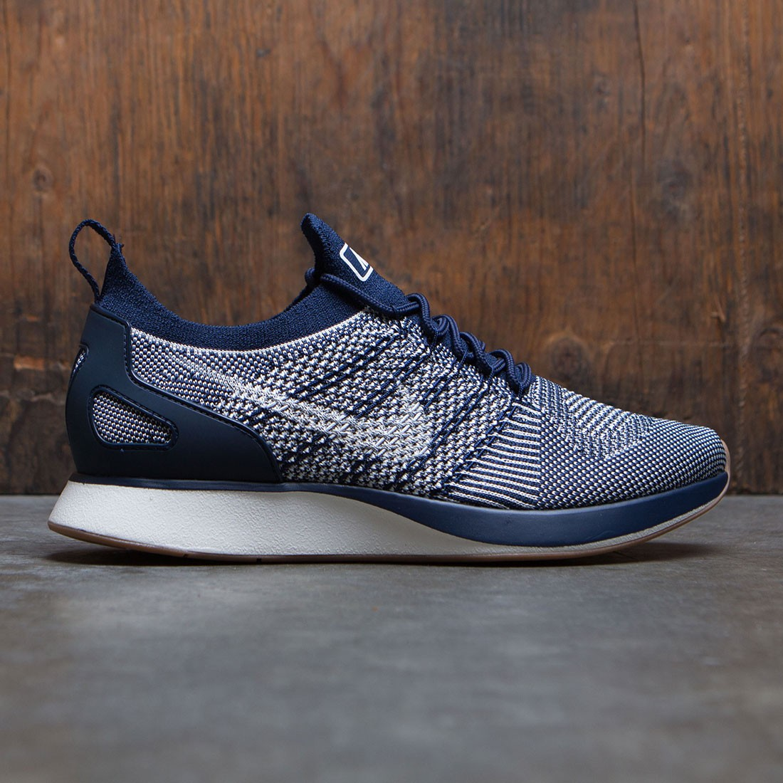 buy online bff69 60a3c nike men air zoom mariah flyknit racer navy college navy sail gum med brown