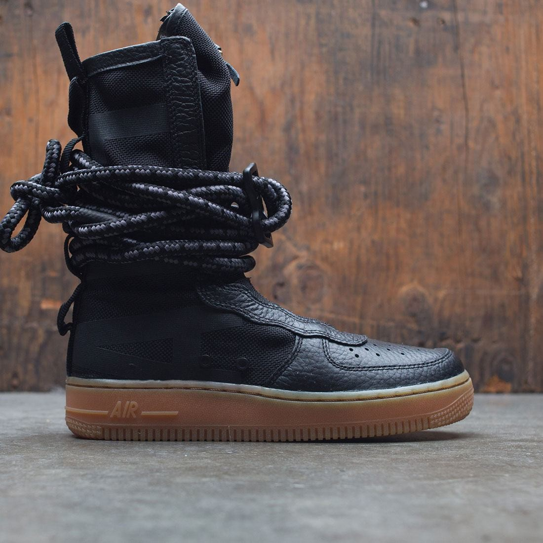 nike women sf air force 1 hi boot black black gum light brow