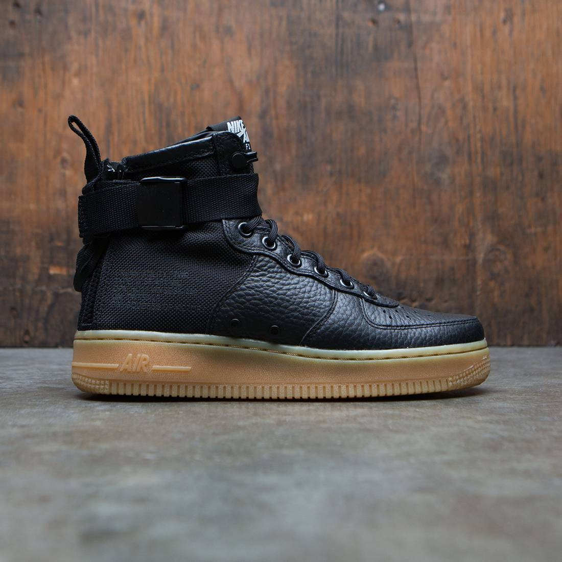 nike women sf air force 1 mid black black gum light brown d5a9c33832