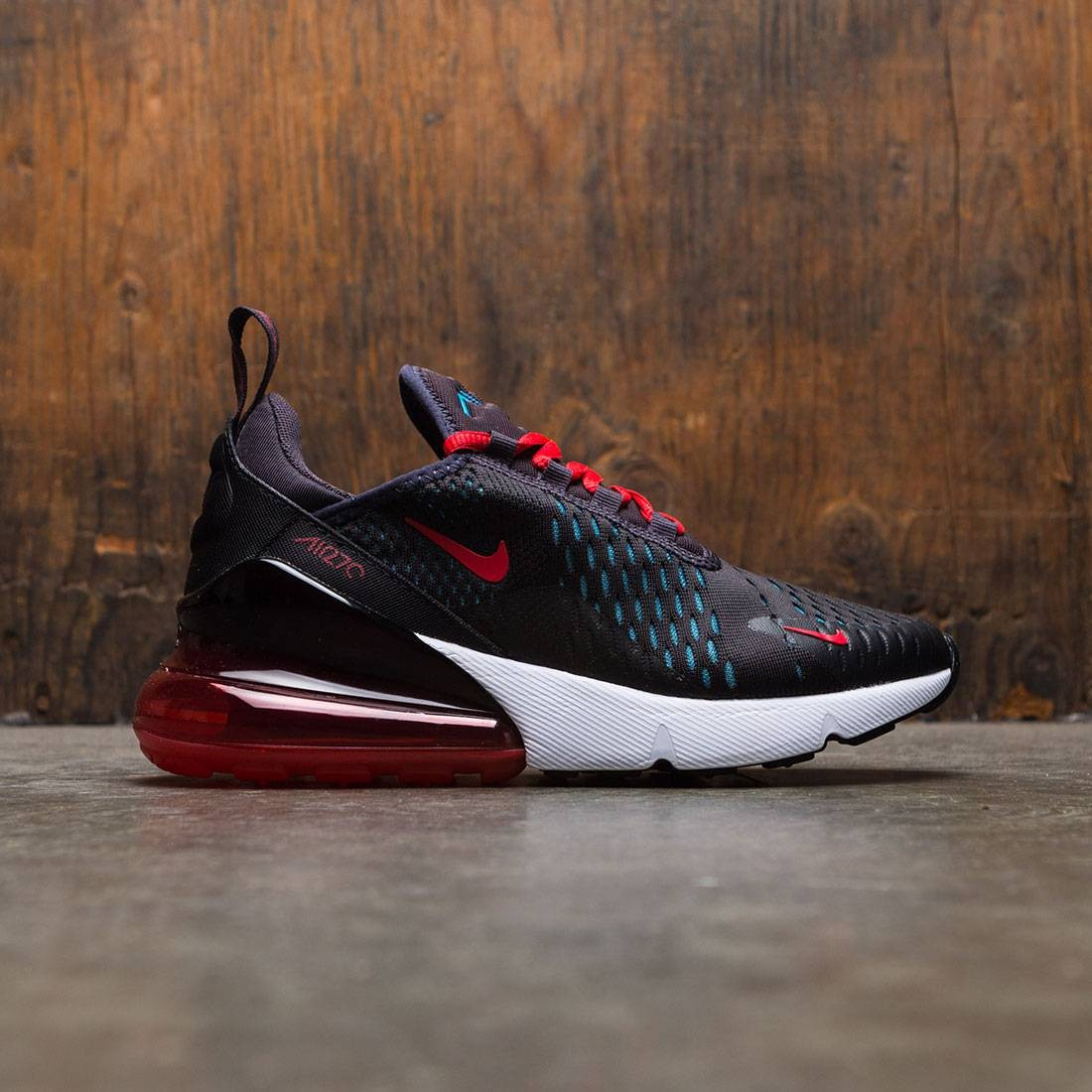 look for 6039b 337ab Nike Women Air Max 270 (oil grey / speed red-neo turq-black)