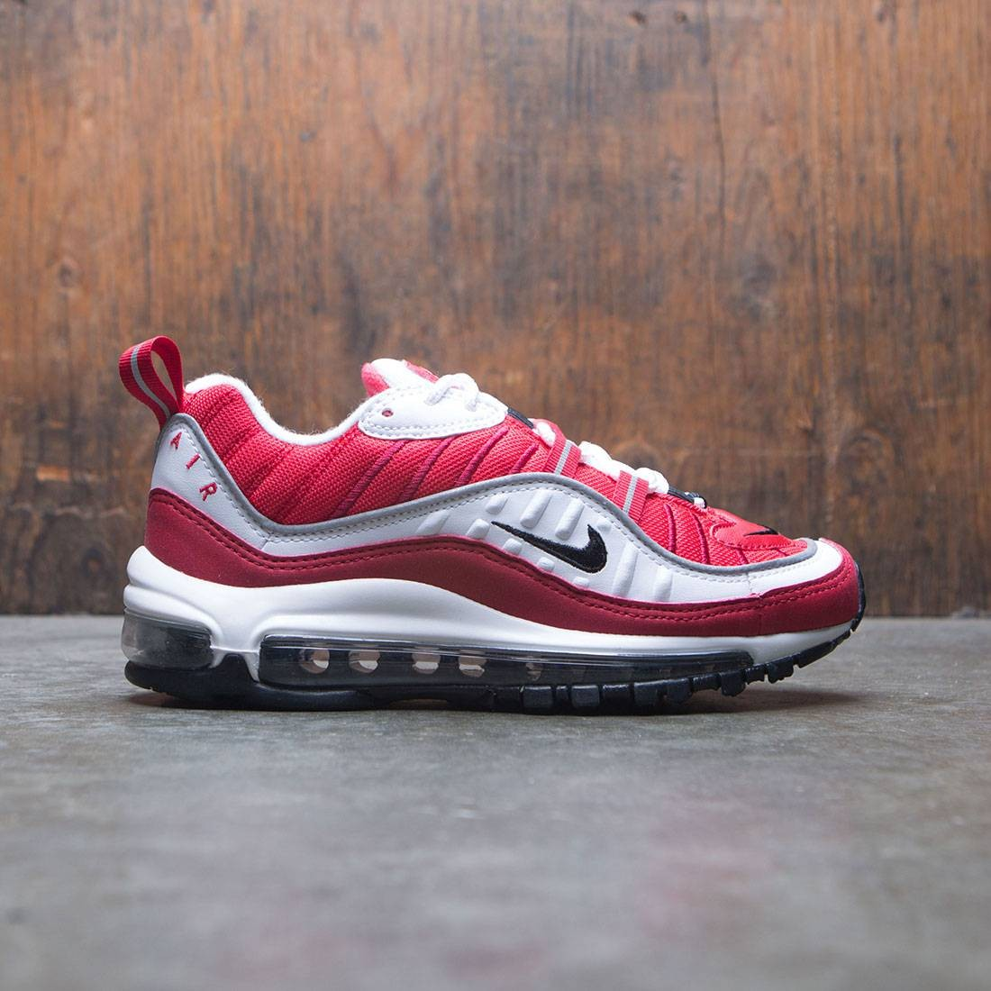 low priced ce781 90308 nike women air max 98 white black gym red reflect silver