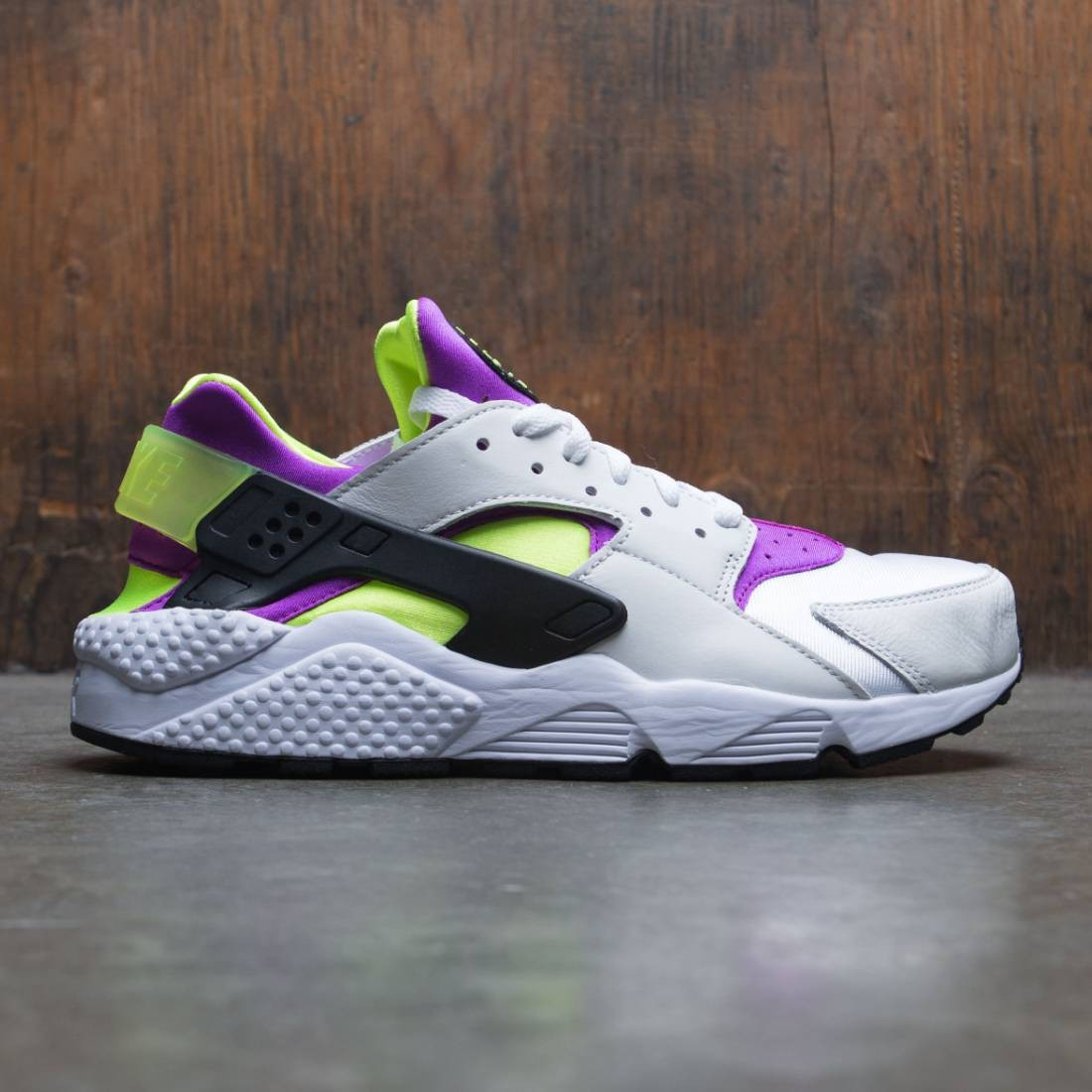 quality design 59ee4 a20f5 nike men air huarache run 91 qs white black neon yellow magenta