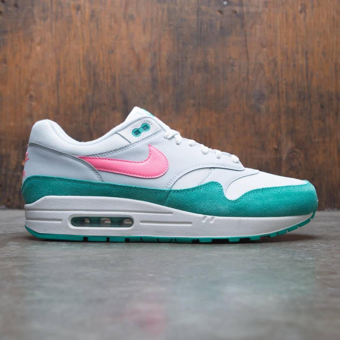 newest b2108 28d0c nike men air max 1 summit white sunset pulse kinetic green