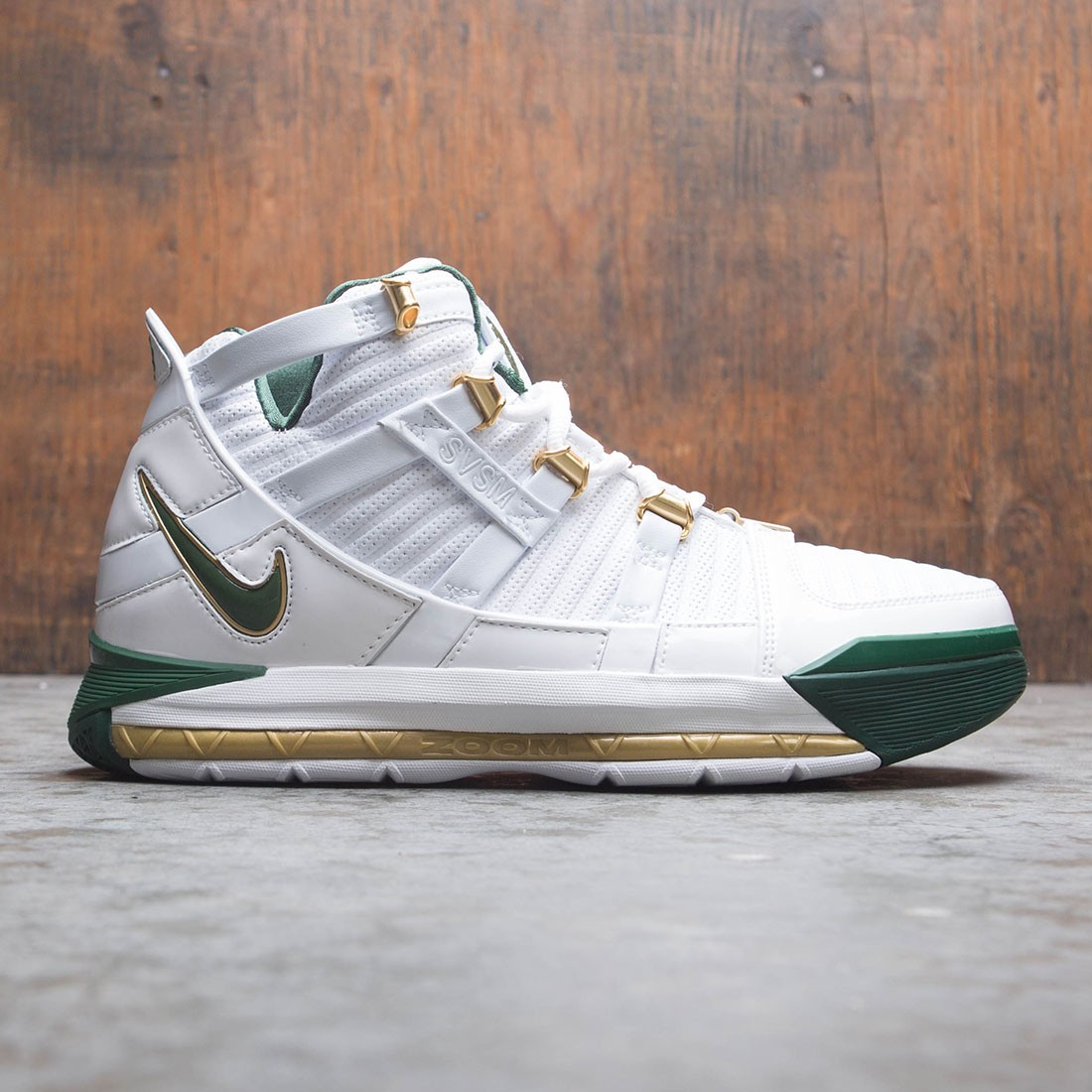Nike Men Zoom Lebron 3 Qs (white / deep forest-metallic gold)