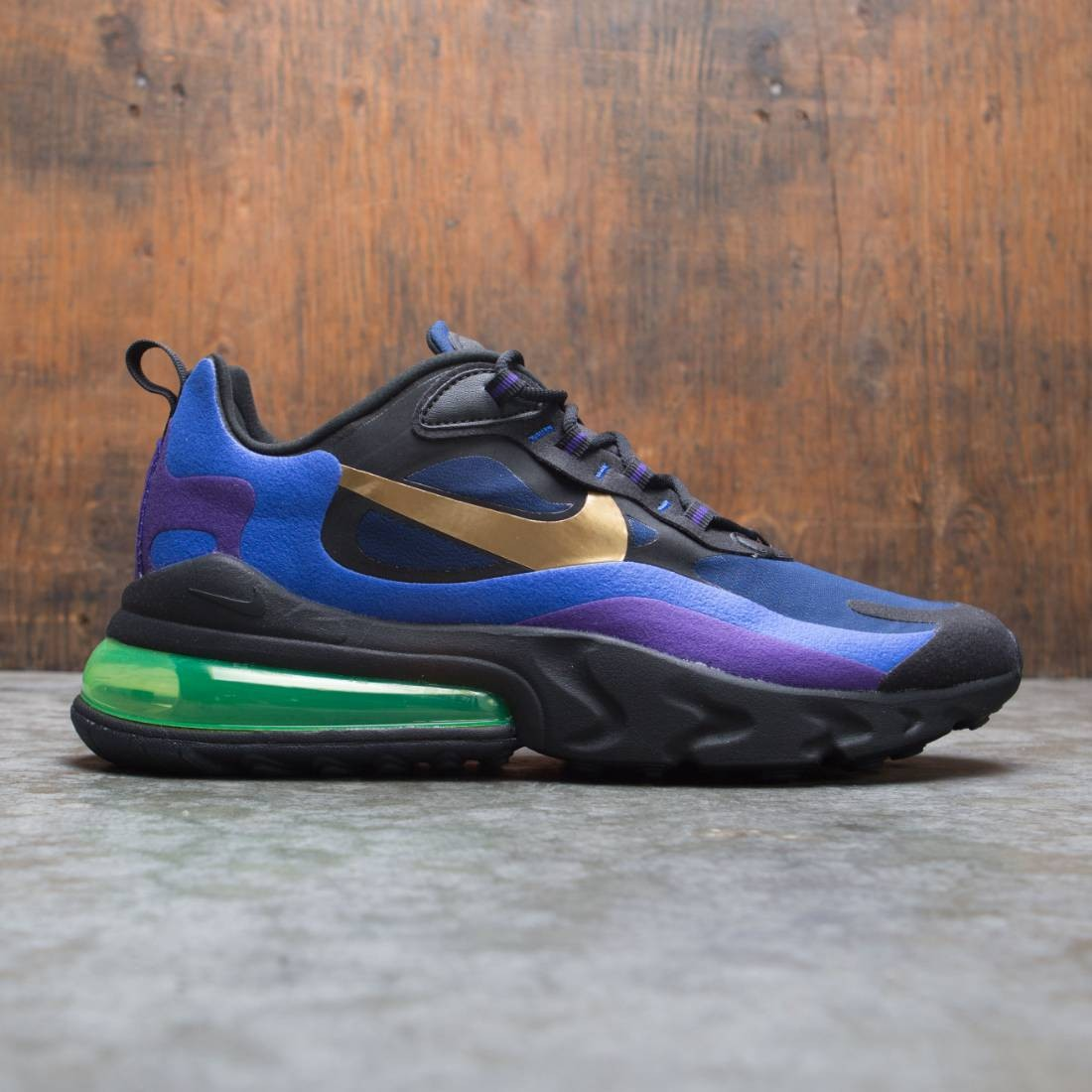 Nike Men Air Max 270 React (Heavy Metal) (black university gold deep royal blue)