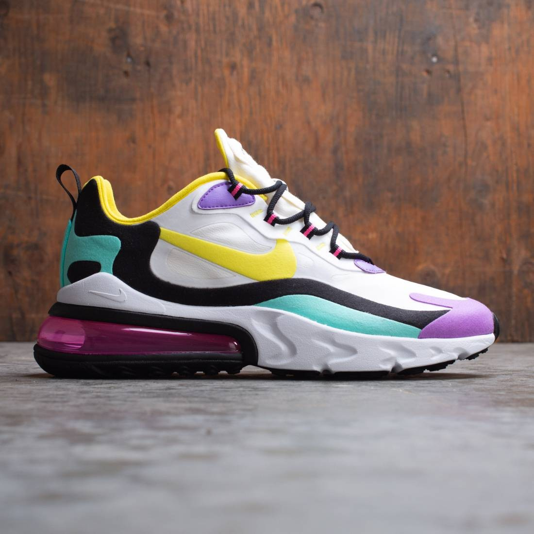 Nike Men Air Max 270 React Geometric Art (white dynamic yellow black bright violet)