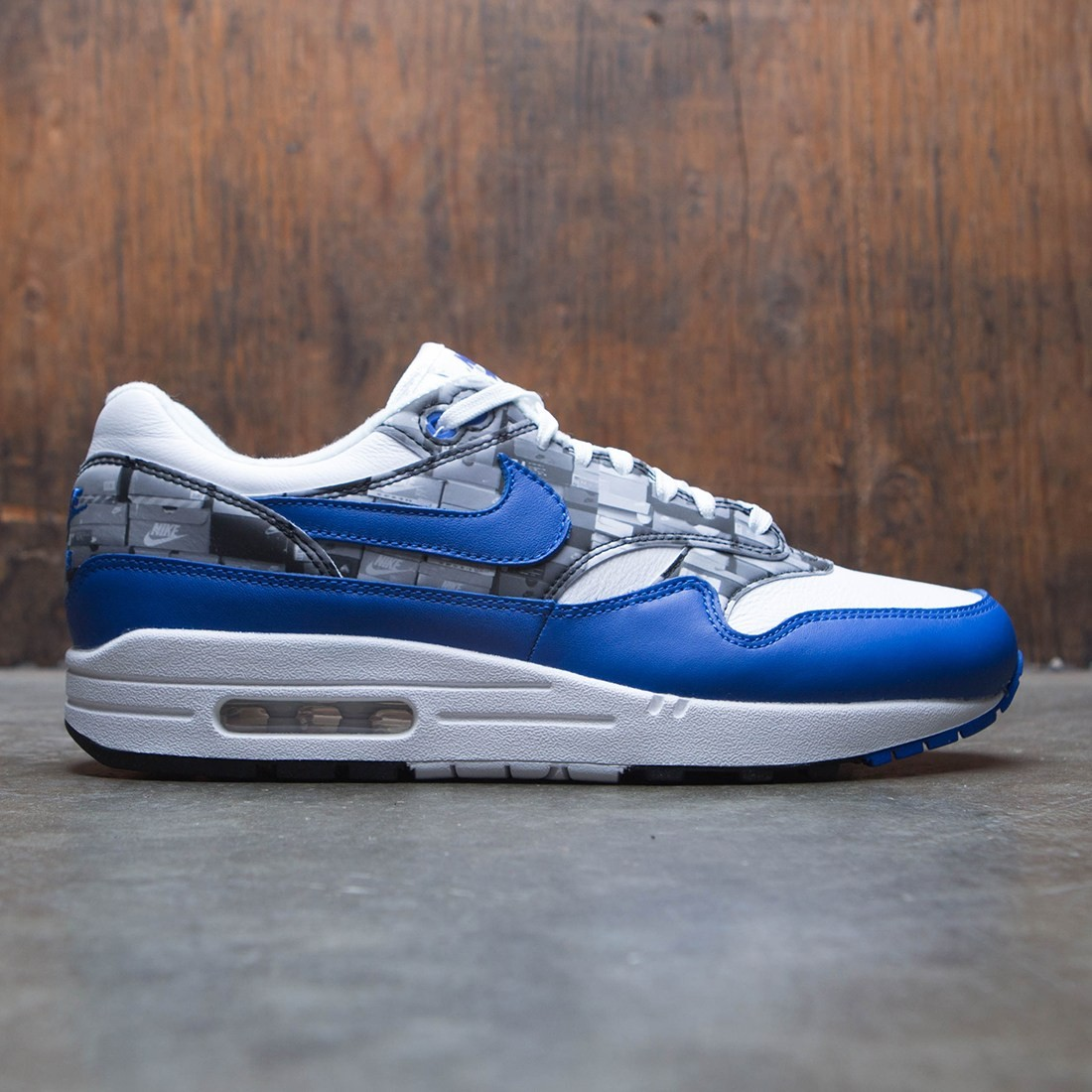 get online detailed pictures outlet store Nike Men Air Max 1 Atmos Print (white / game royal-neutral grey)