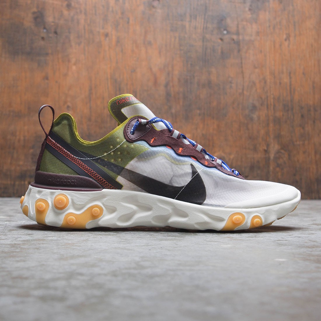 Nike Men React Element 87 (moss / black-el dorado-deep royal blue)