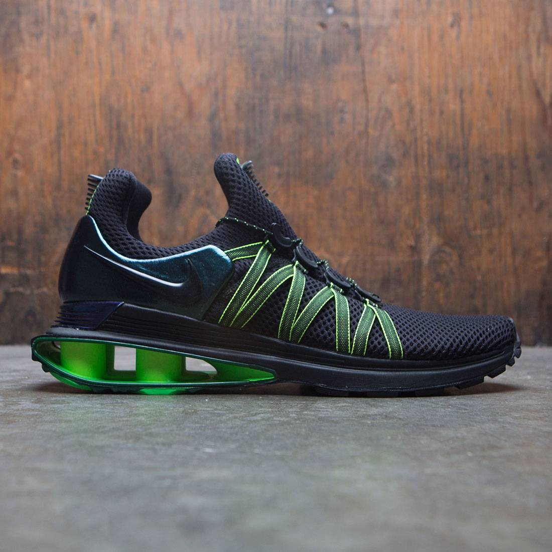 check out 4a544 11fcb nike men shox gravity black black gorge green hot lime