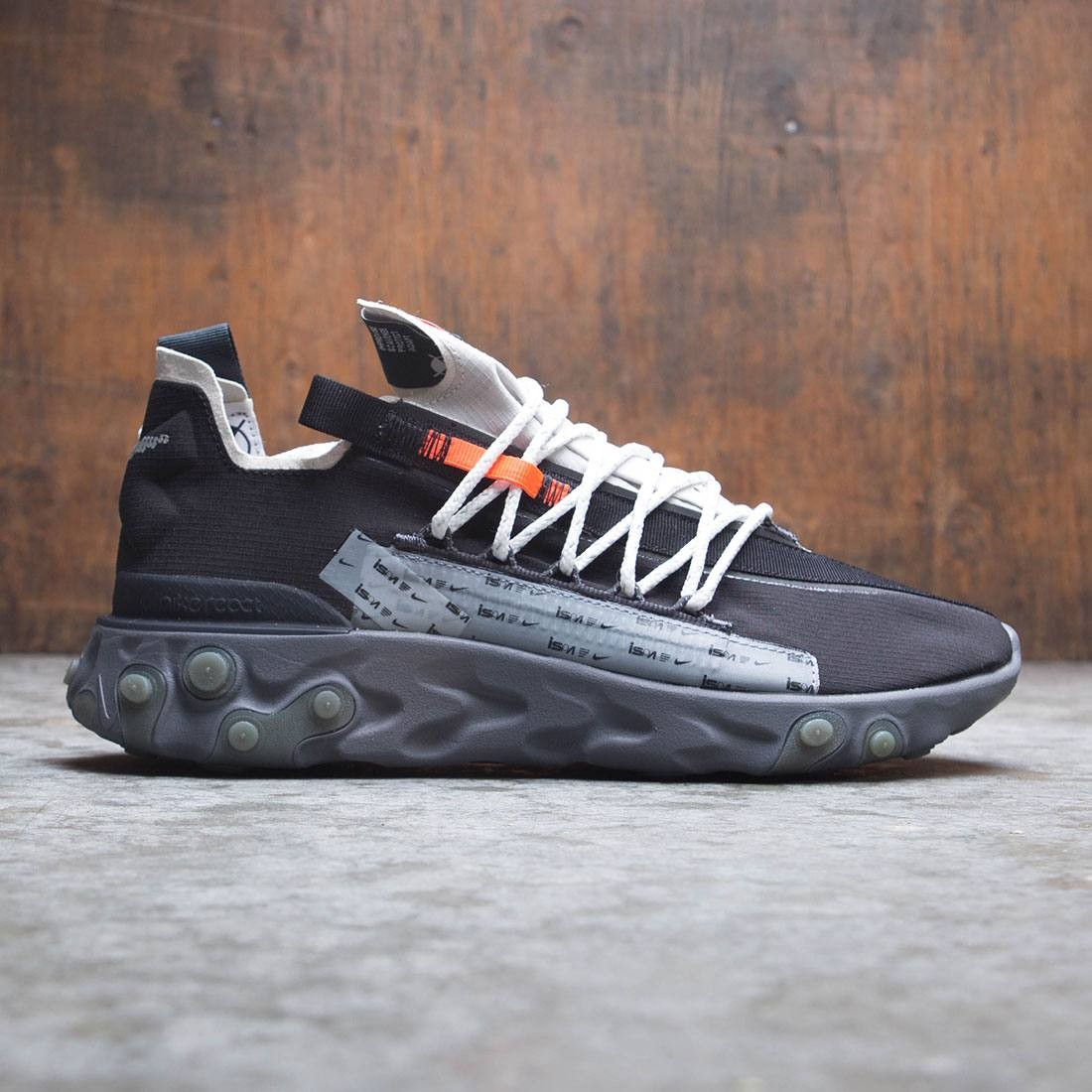 nike men ispa react wr black metallic silver gunsmoke