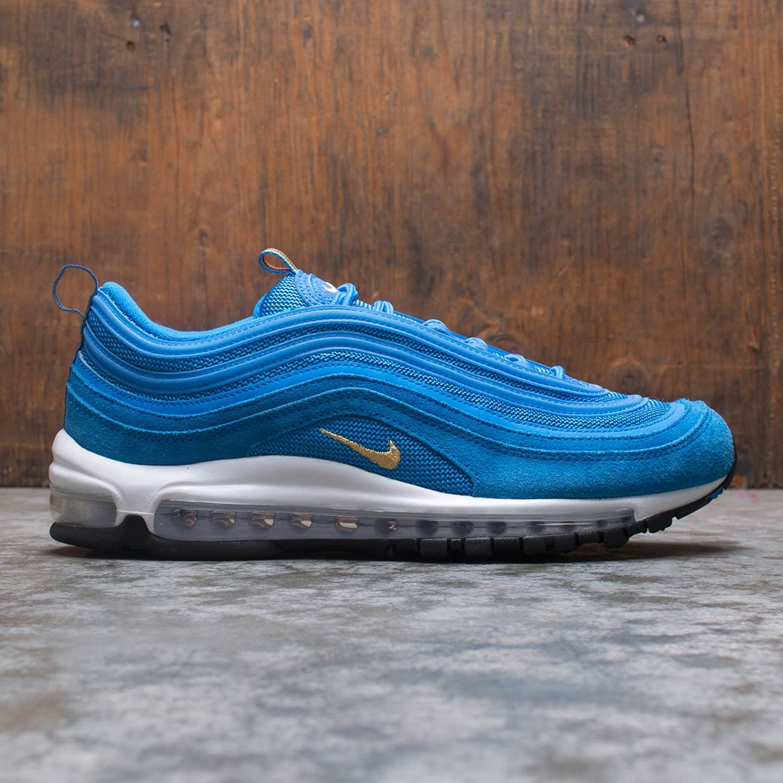 Nike Men Air Max 97 Photo Blue Metallic Gold White Black