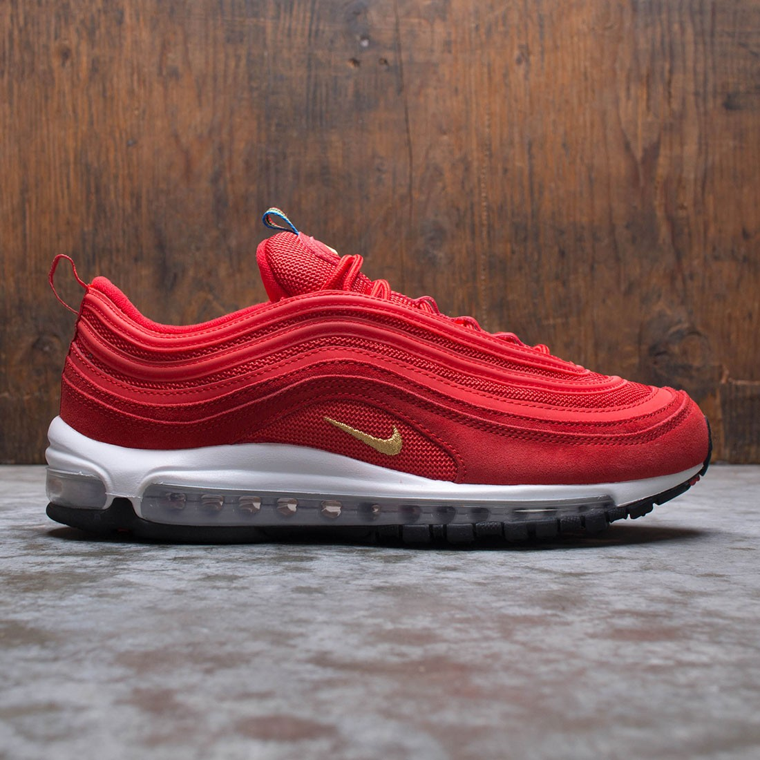 gold and red air max 97