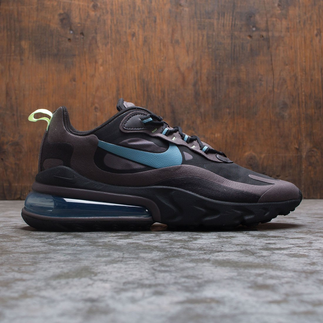 Nike Men Air Max 270 React Black Cerulean Thunder Grey Barely Volt