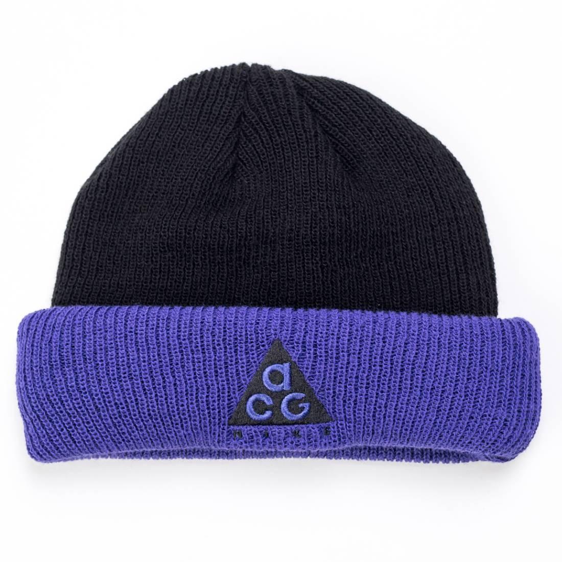 Nike Men Acg Logo Beanie (black / fusion violet)