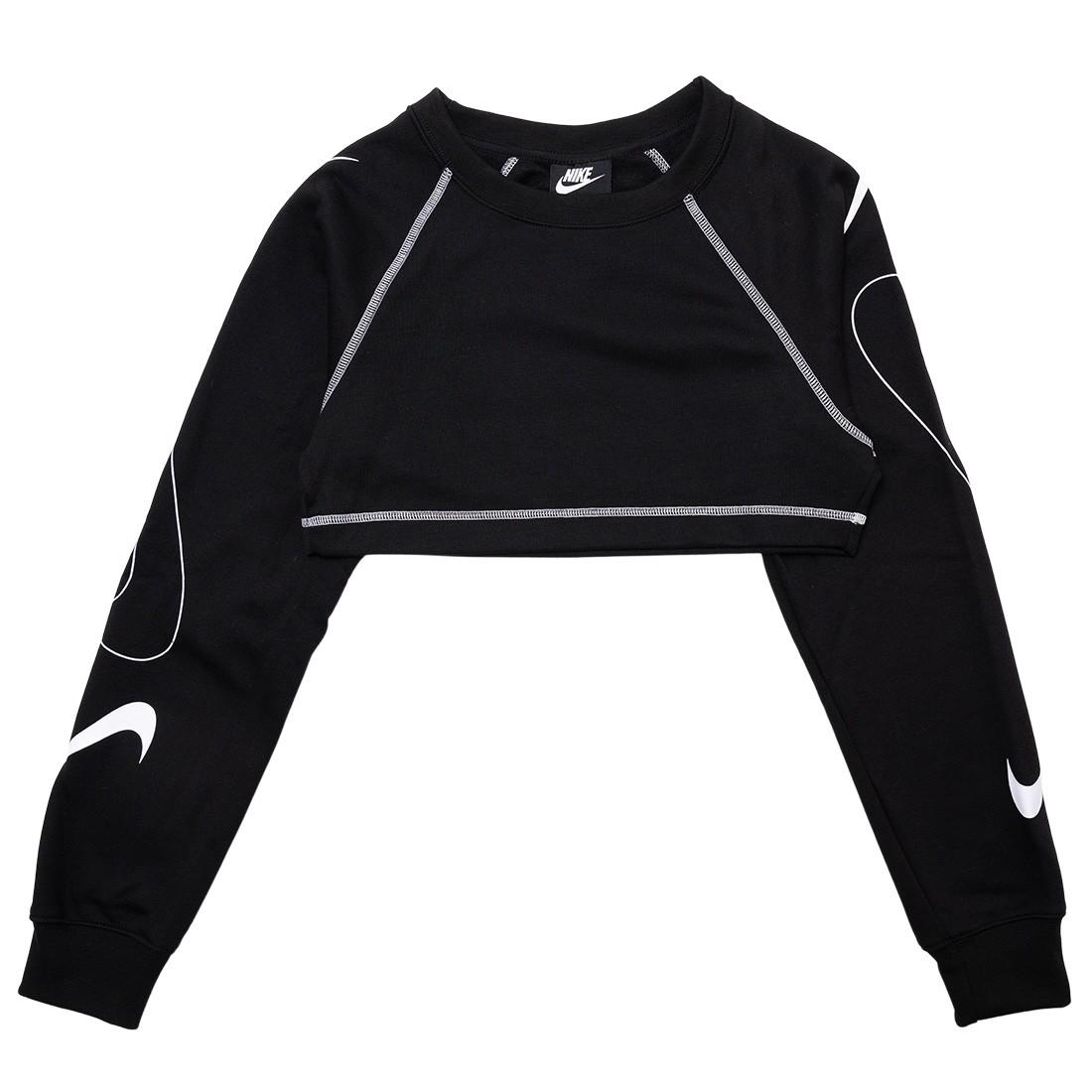Nike Women Sportswear Swoosh Cropped Fleece Crewneck (black / white)