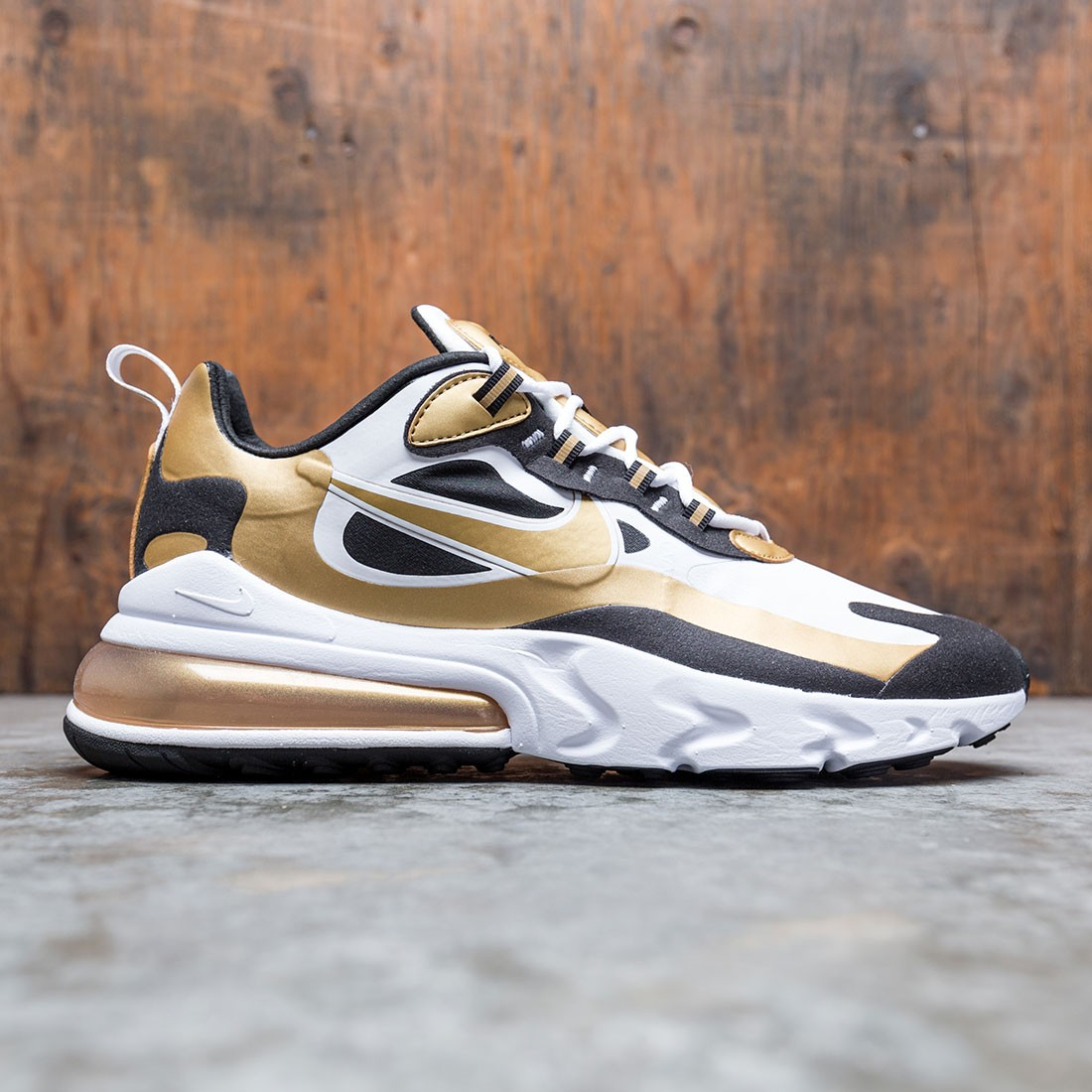 Nike Men Air Max 270 React White Metallic Gold Black