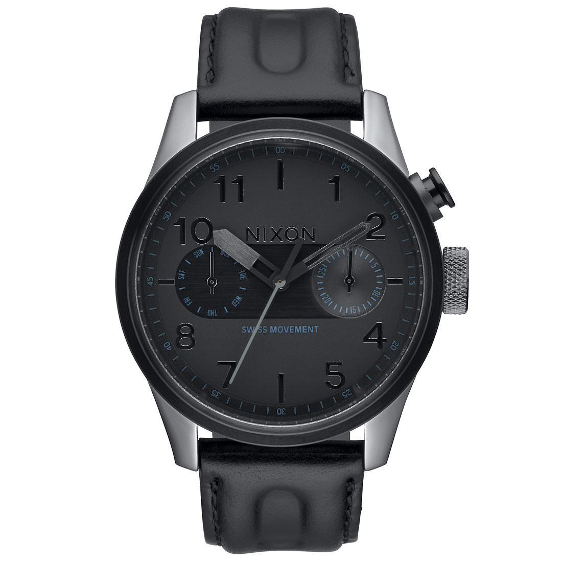 Nixon Safari Deluxe Leather Watch (black / gunmetal)