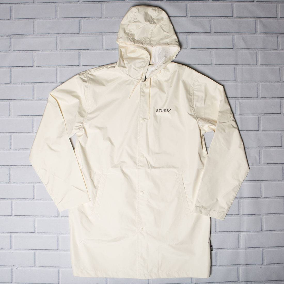 Stussy Men Summer Long Hooded Coaches Jacket (white)