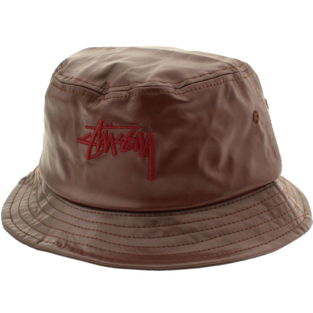 Stussy Stock Leather Bucket Hat (burgundy) 617470b53451