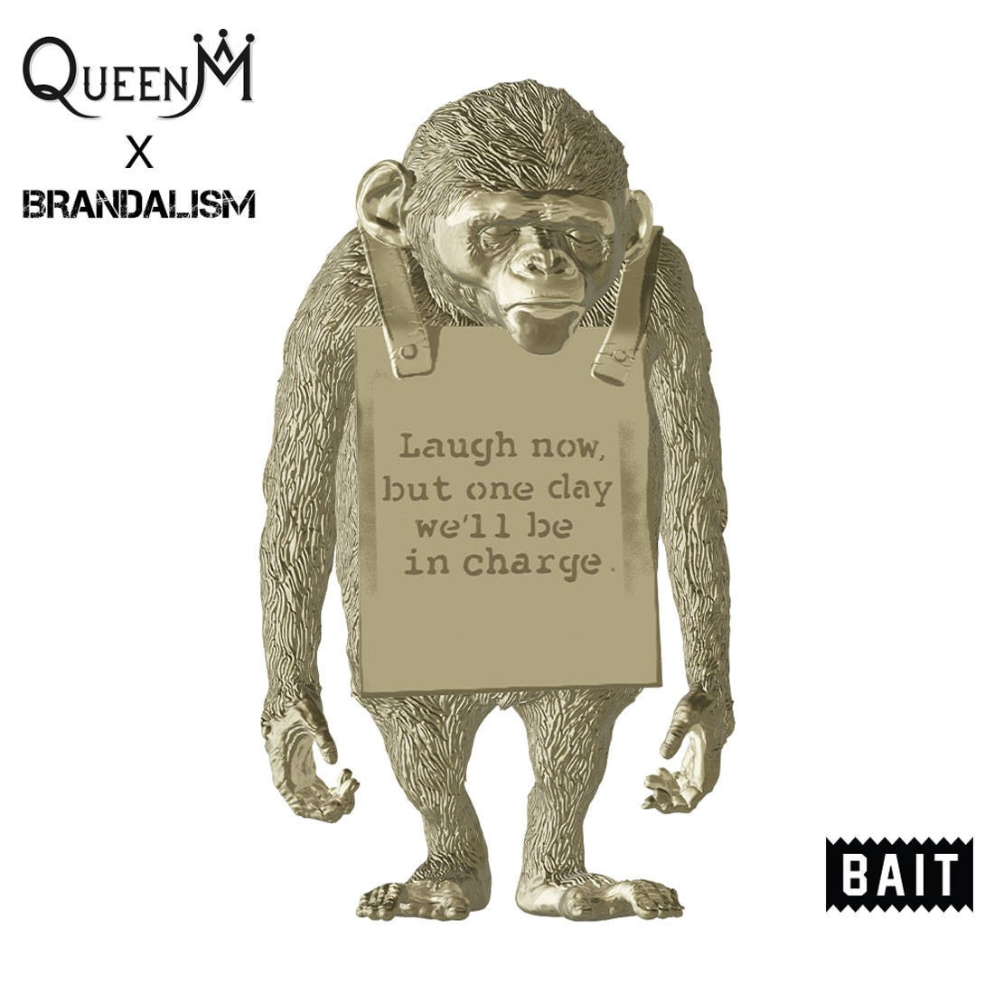 PREORDER - BAIT x Queen M x Brandalism Laugh Now Monkey 8 Inch Figure - SDCC 2021 Exclusive (gold)