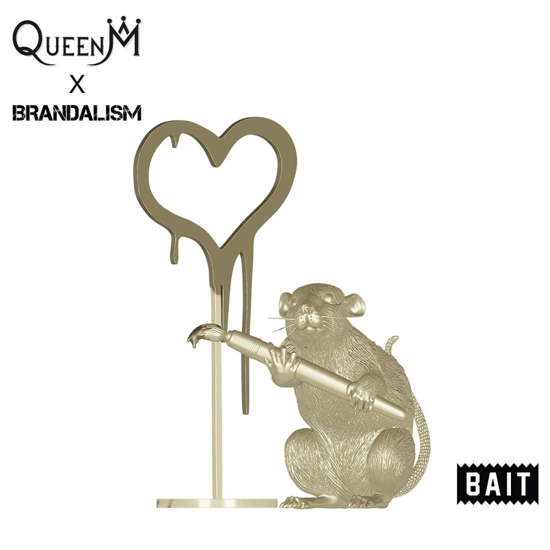 PREORDER - BAIT x Queen M x Brandalism Love Rat 8 Inch Figure - SDCC 2021 Exclusive (gold)