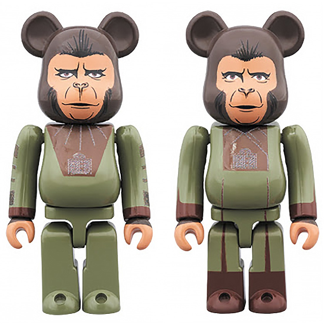 PREORDER - Medicom Planet Of The Apes Cornelius And Zira 100% Bearbrick Figure 2 Pack Set (green)