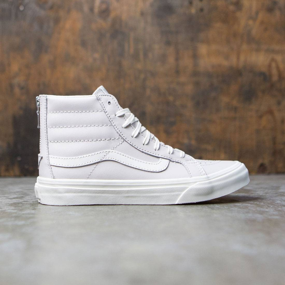 51a21bb52332 Vans Women Sk8-Hi Slim Zip - Leather white wind blanc de blanc