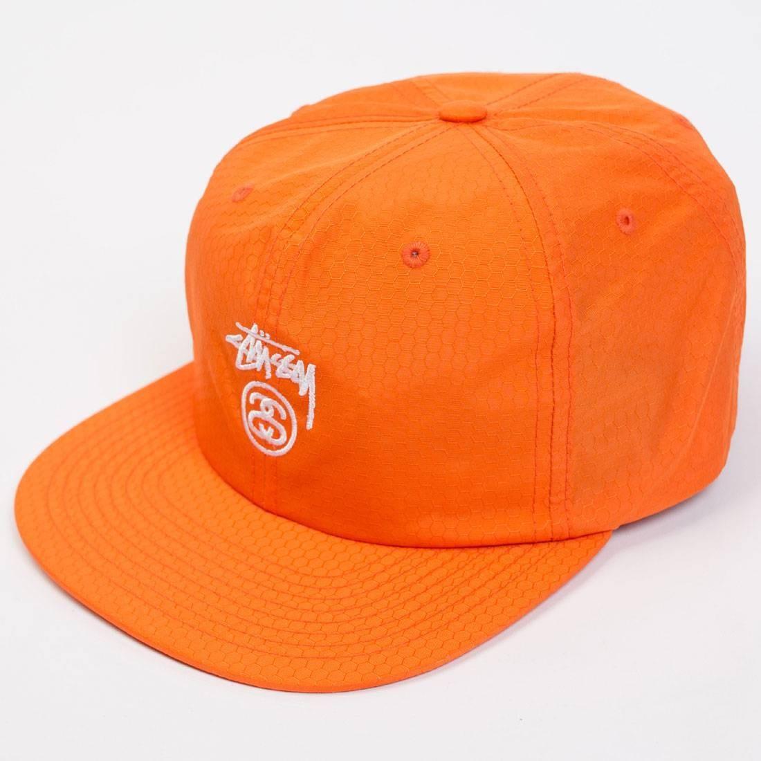 Stussy Stock Lock Honeycomb Strapback Cap (orange)