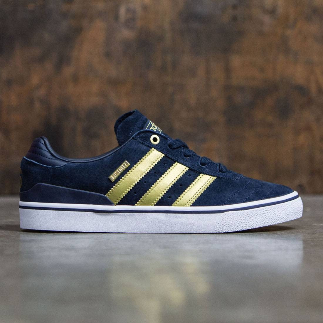 209e584f9365 Adidas Men Busenitz Vulc ADV 10 Year Anniversary navy collegiate navy gold  metallic footwear white