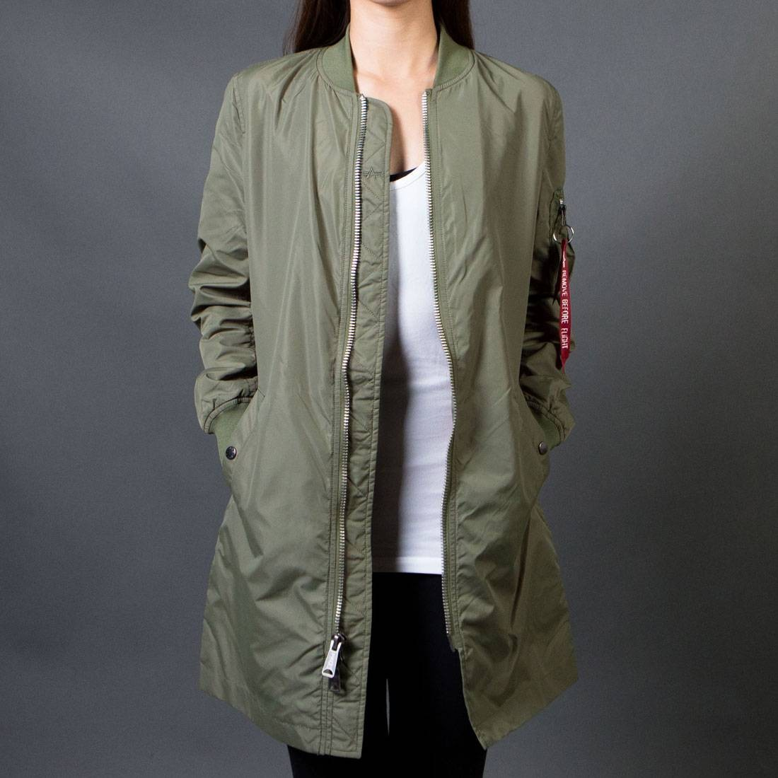 compras recogido 100% autentico Alpha Industries Women L2B Long Flight Jacket (green / sage)
