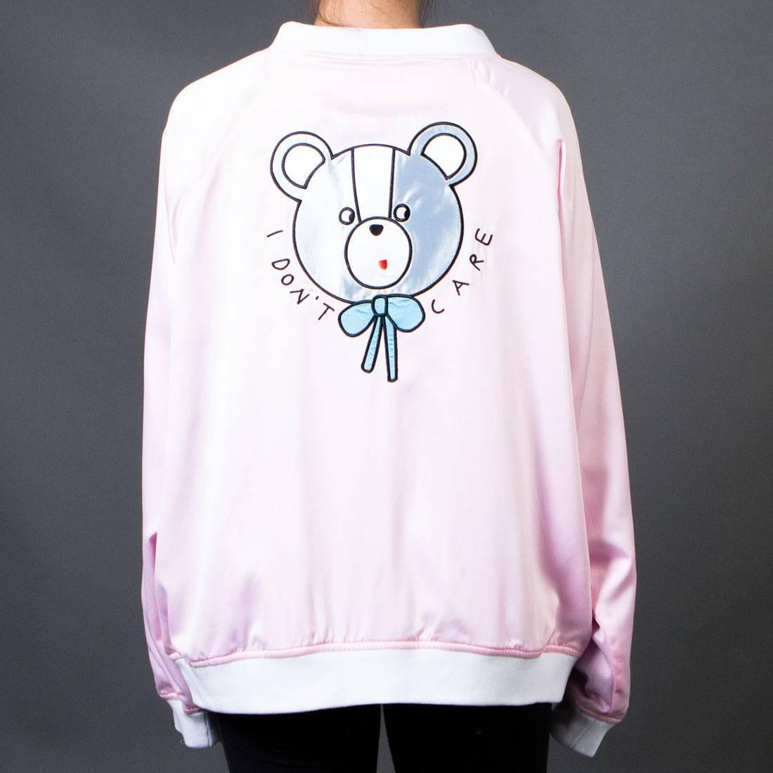 Lazy Oaf Women Don't Care Bear Bomber Jacket (pink)