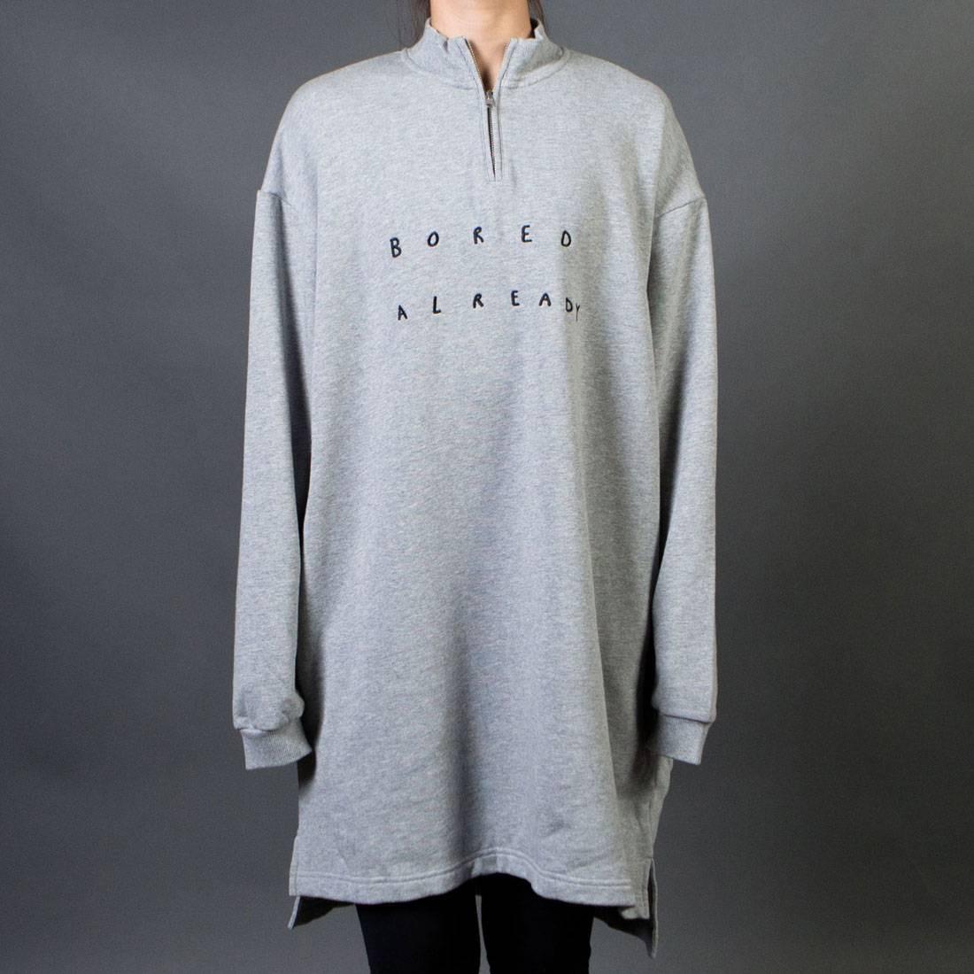 de3dbdfcbc Lazy Oaf Women Boring Zip Up Sweater Dress gray
