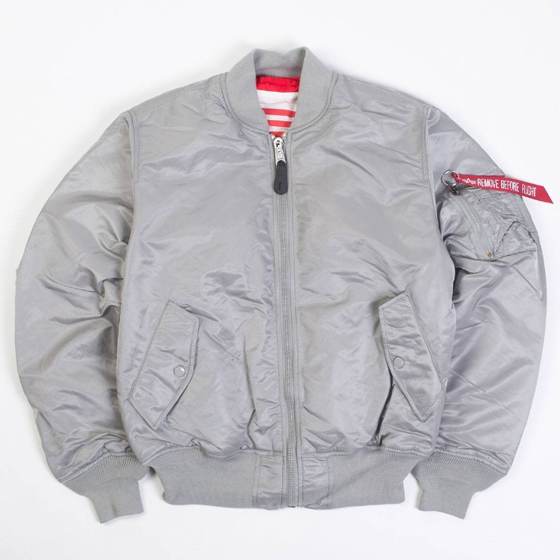 06c92201ae64 Alpha Industries Men MA-1 Blood Chit Jacket silver red