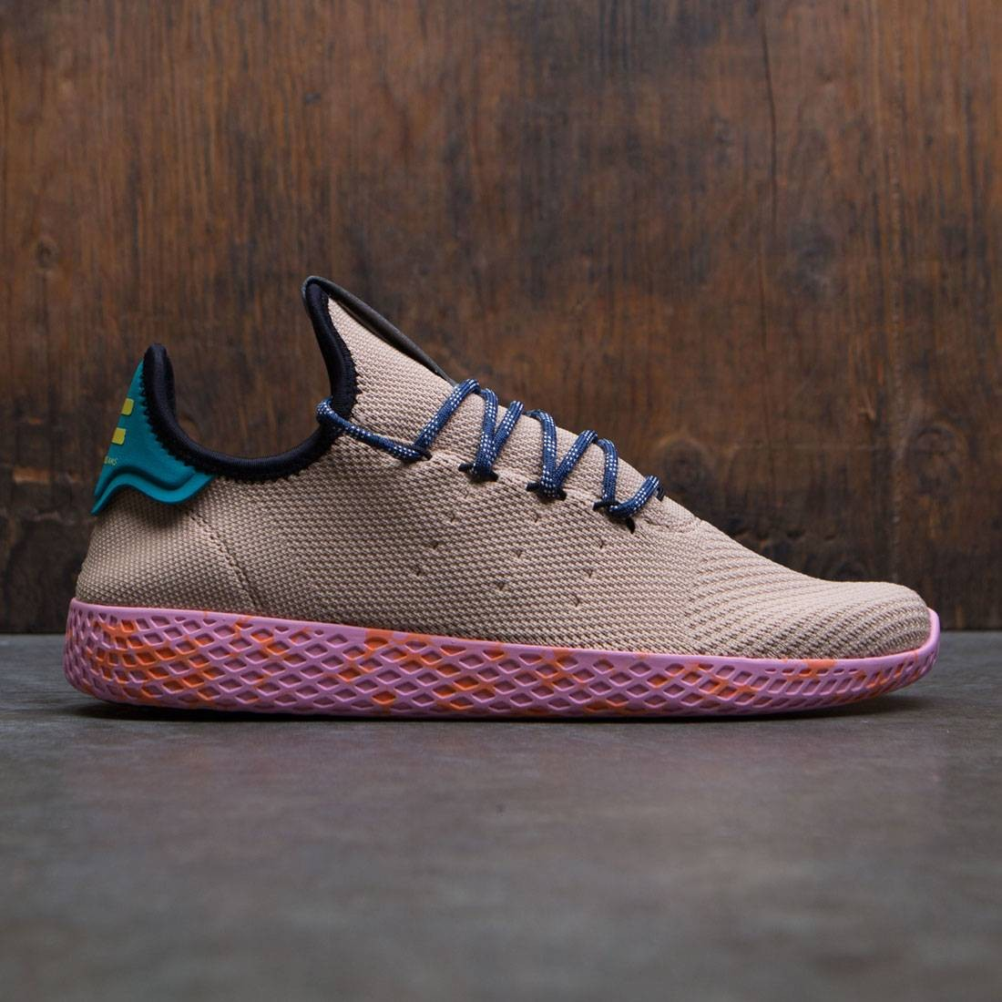 Adidas x Pharrell Williams Men Tennis HU (tan / teal / pink marble)