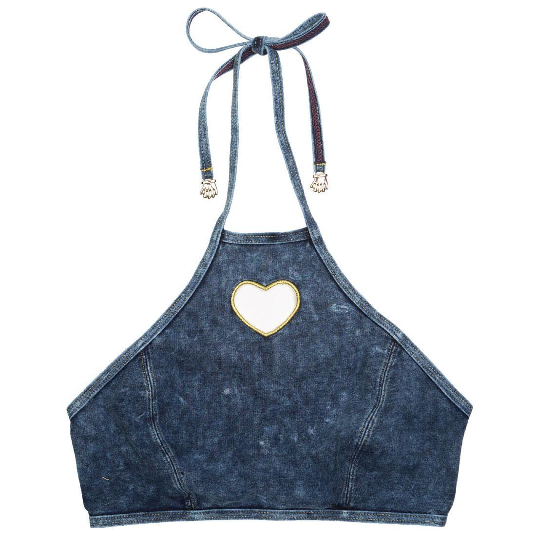 Lazy Oaf Women Jean Bikini Top (blue / denim)
