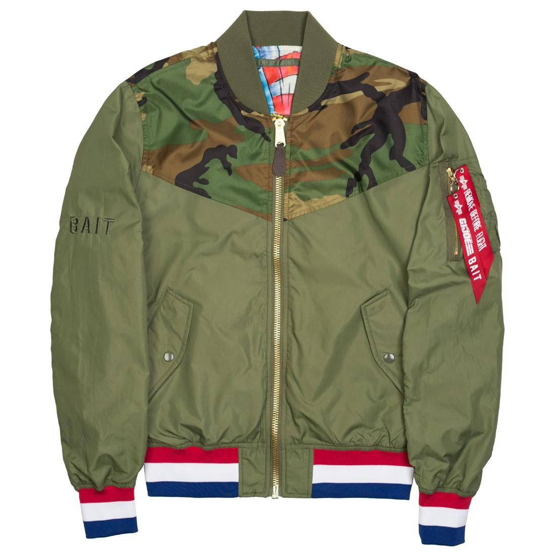size 40 3c454 13be4 BAIT x Alpha Industries x GI JOE Men L2B Scout Military Reversible Jacket  (green / olive)