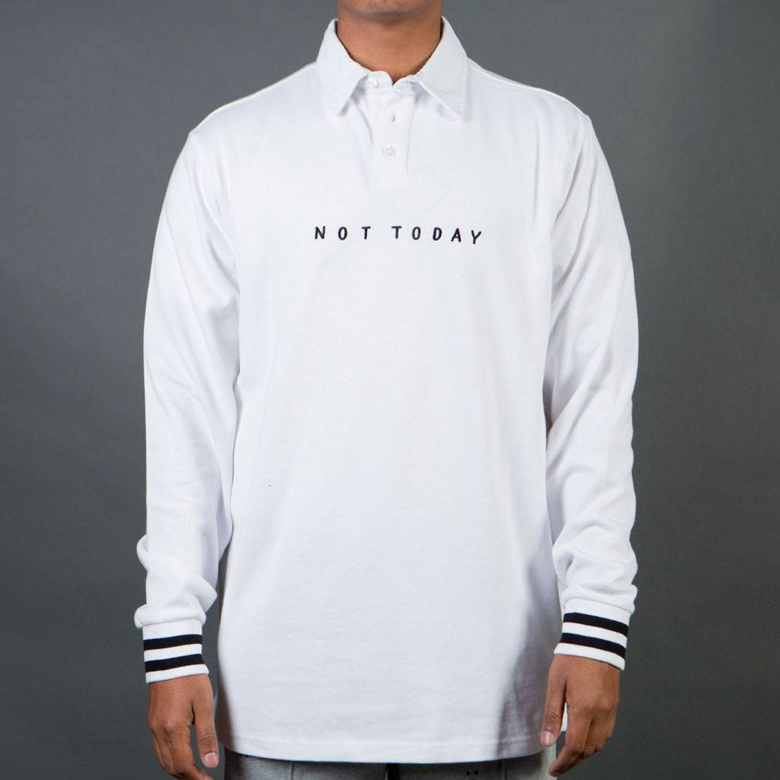 Lazy Oaf Men Not Today Long Sleeve Jersey Tee (white)