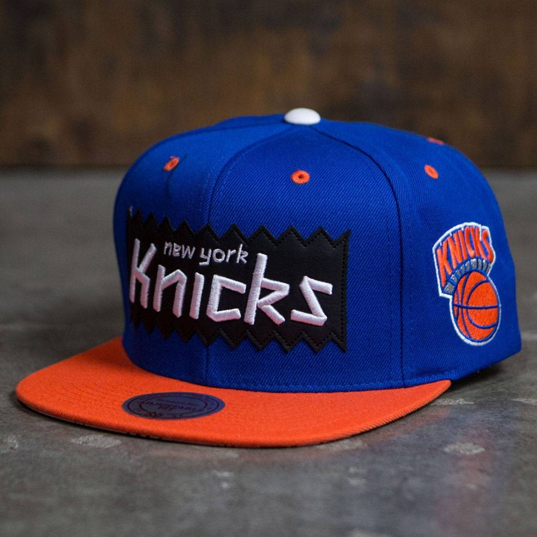 BAIT x NBA x Mitchell And Ness New York Knicks STA3 Wool Snapback Cap (royal / orange)