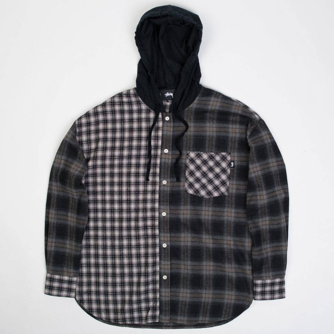 Stussy Women Cashed Hooded Flannel Shirt (black / gray)