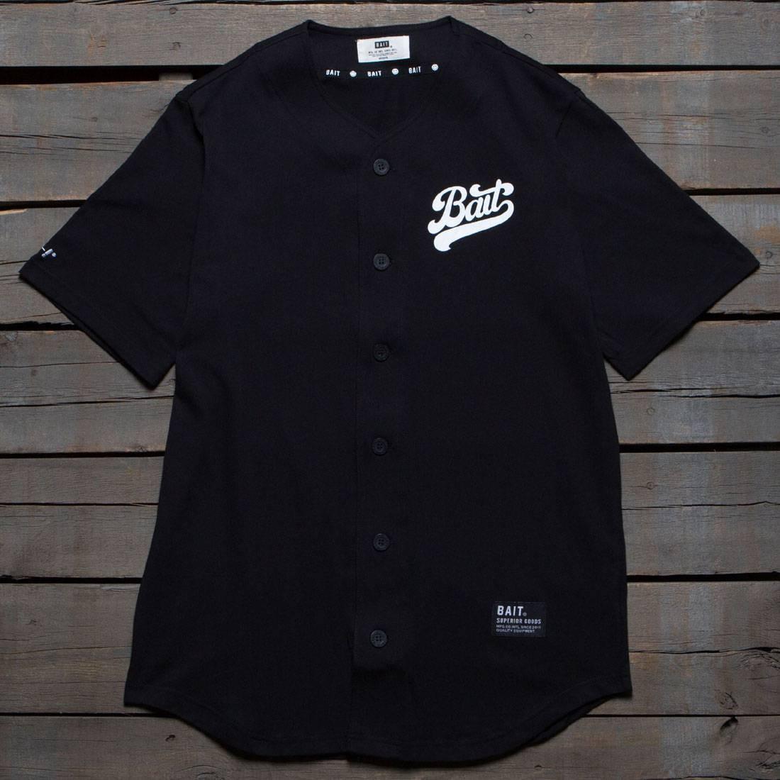 BAIT Men Script Logo Baseball Jersey Shirt (black)